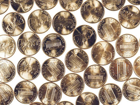 cent: Vintage looking Dollar coins 1 cent wheat penny cent currency of the United States Stock Photo