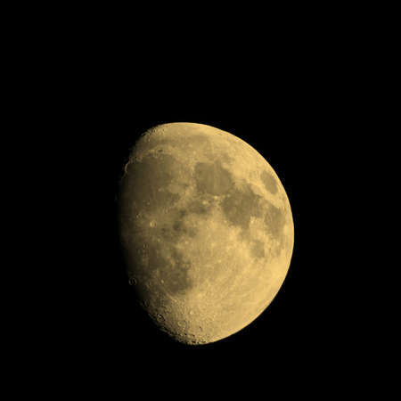 gibbous: Waxing gibbous moon over dark sky at night vintage sepia
