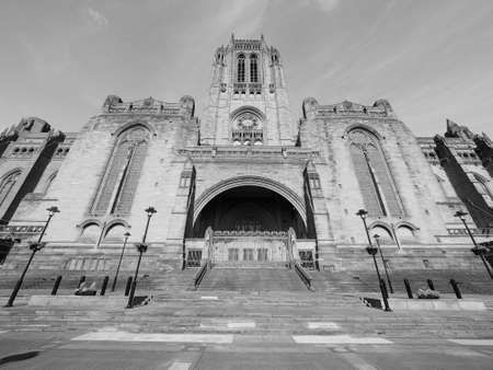giles: Liverpool Cathedral aka Cathedral Church of Christ or Cathedral Church of the Risen Christ on St James Mount in Liverpool, UK in black and white