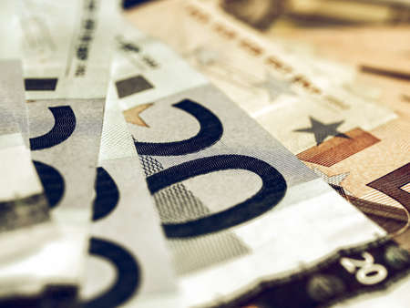 50 euro: Vintage looking Range of 20 and 50 Euro banknotes useful as a background