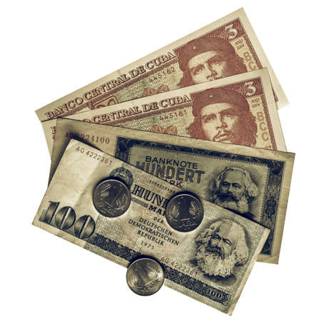 karl: Vintage looking Vintage banknotes with Karl Marx (from DDR) and Che Guevara (from Cuba) Stock Photo