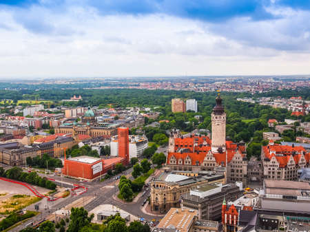 14: LEIPZIG, GERMANY - JUNE 14, 2014: Aerial view of the city (HDR) Editorial