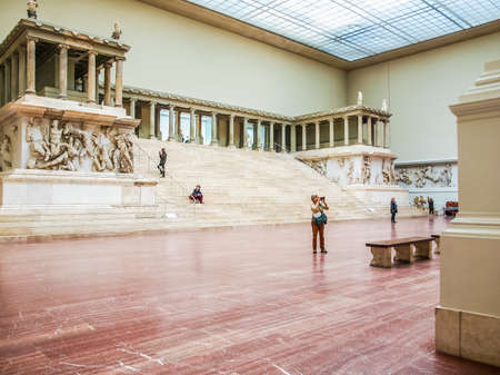 antiquities: BERLIN, GERMANY - CIRCA MAY, 2014: Tourists visiting the Pergamon Museum of antiquities (HDR)