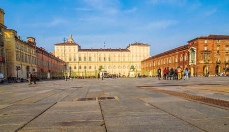 reale: TURIN, ITALY - MARCH 11, 2014: Tourists visiting the Palazzo Reale (Royal Palace) (HDR)