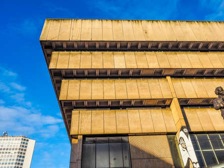 BIRMINGHAM, UK - SEPTEMBER 25, 2015: Birmingham Central Library iconic masterpiece of New Brutalism designed by John Madin in 1974 is now threated of demolition (HDR)