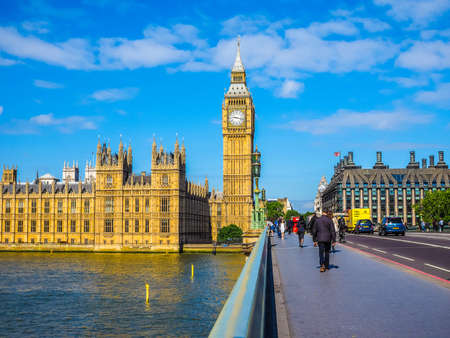 bigben: LONDON, UK - JUNE 10, 2015: Houses of Parliament aka Westminster Palace seen from Westminster Bridge (HDR) Editorial