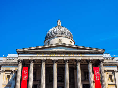 trafalgar: LONDON, UK - JUNE 11, 2015: The National Gallery in Trafalgar Square (HDR) Editorial