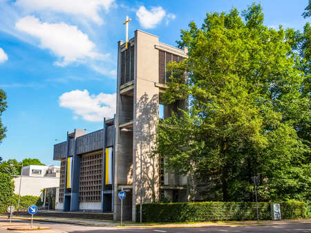 LEIPZIG, GERMANY - JUNE 12, 2014: The Propsteikirche St Trinitas meaning Church of St Trinity parish church designed in 1968 by the school of architecture of the GDR is a masterpiece of modern architecture (HDR)