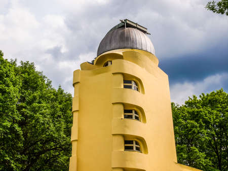 POTSDAM, GERMANY - MAY 10, 2014: The Einstein Turm astrophysical observatory was designed by architect Erich Mendelsohn in 1917 for Albert Einstein to validate his Relativity Theory (HDR)