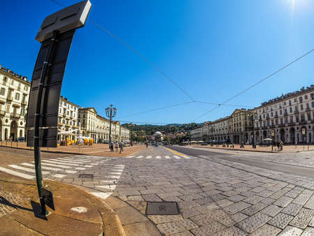 TURIN, ITALY - CIRCA SEPTEMBER, 2015: Piazza Vittorio Emanuele II is the largest square in central Turin seen with fisheye lens (HDR) Editorial