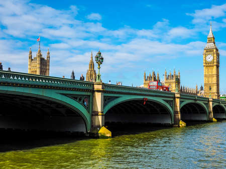 seen: LONDON, UK - JUNE 10, 2015: Houses of Parliament aka Westminster Palace seen from Westminster Bridge (HDR) Editorial