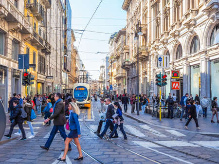 via: MILAN, ITALY - MARCH 28, 2015: Tourists in Via Torino high street (HDR) Editorial