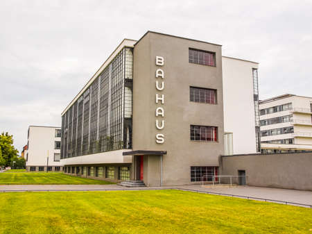 rationalist: DESSAU, GERMANY - JUNE 13, 2014: The Bauhaus art school iconic building designed by architect Walter Gropius in 1925 is a listed masterpiece of modern architecture (HDR) Editorial