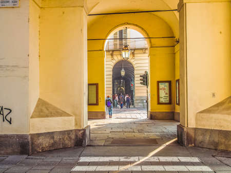 via: TURIN, ITALY - MARCH 11, 2014: Tourists in Via Po highstreet (HDR)