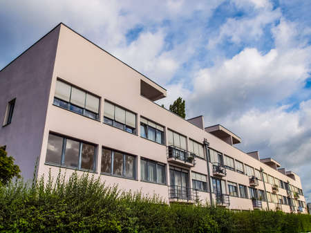 STUTTGART, GERMANY - JULY 11, 2012: The Weissenhof Siedlung model houses were designed in 1927 for the modern architecture exhibition by major rationalist architects of the time under the masterplan of Mies Van Der Rohe (HDR)