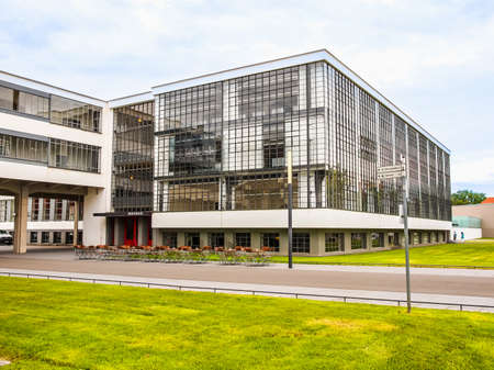 DESSAU, GERMANY - JUNE 13, 2014: The Bauhaus art school iconic building designed by architect Walter Gropius in 1925 is a listed masterpiece of modern architecture (HDR) Editorial