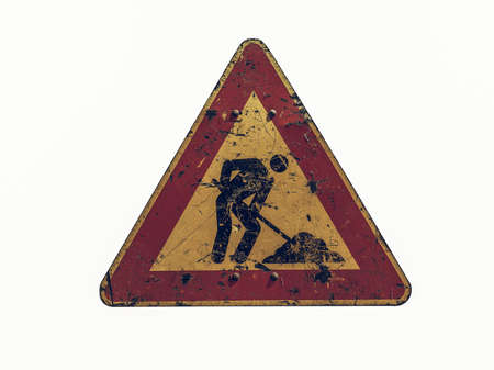 road works: Vintage looking Warning signs, Road works traffic sign isolated over white background Stock Photo