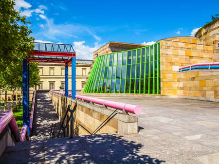 masterpiece: STUTTGART, GERMANY - JULY 11, 2012: The Neue Staatsgalerie art gallery is a masterpiece of postmodern architecture designed by British architect Sir James Stirling in 1977 (HDR)