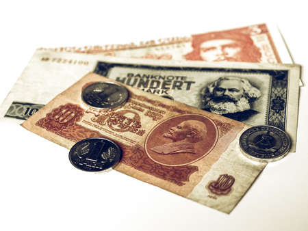 republik: Vintage looking Money from the Communist countries: CCCP SSSR DDR Cuba Stock Photo