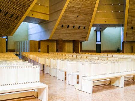 chiesa: TURIN, ITALY - CIRCA MARCH, 2008: The Chiesa del Santo Volto Church was designed by swiss architect Mario Botta (HDR) Editorial