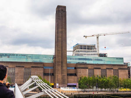 powerstation: LONDON, UK - JUNE 10, 2015: Tate Modern art gallery in South Bank powerstation among the largest and most visited art galleries in the UK (HDR)
