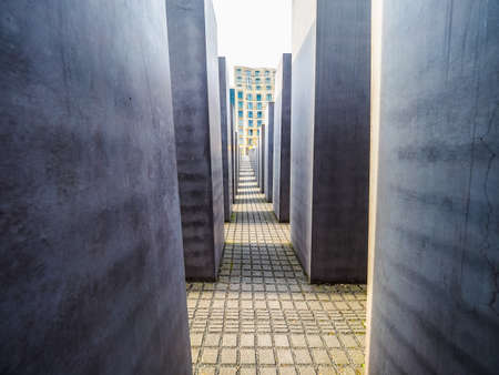 murdered: BERLIN, GERMANY - CIRCA JUNE 2016: Denkmal fuer die ermordeten Juden Europas meaning Holocaust Memorial to the Murdered Jews of Europe (HDR) Editorial