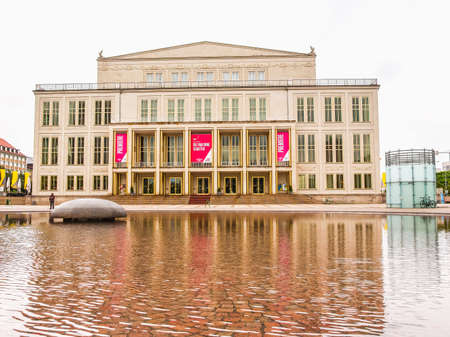 venue: LEIPZIG, GERMANY - JUNE 14, 2014: The new Opera House built in 1956 is the main music venue in Leipzig (HDR)