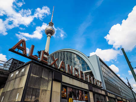 BERLIN, GERMANY - CIRCA JUNE 2016: Alexanderplatz square with Fernsehturm (meaning TV tower) (HDR) Editorial