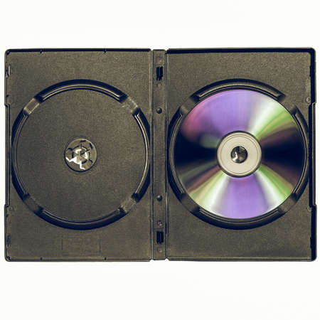 dvd case: Vintage looking CD or DVD case, for music data video recording support - isolated over white background