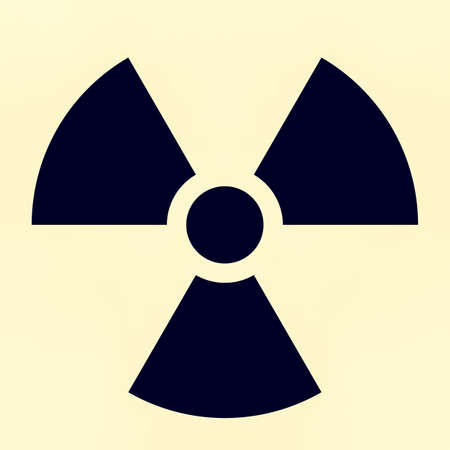 trefoil: Vintage looking The international radiation warning symbol known as trefoil Stock Photo