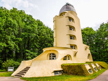 theories: POTSDAM, GERMANY - MAY 10, 2014: The Einstein Turm astrophysical observatory was designed by architect Erich Mendelsohn in 1917 for Albert Einstein to validate his Relativity Theory (HDR)