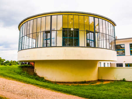 belonging: DESSAU, GERMANY - JUNE 13, 2014: Kornhaus meaning Granary is a restaurant designed by Carl Fieger in 1929 on the river Elbe in Dessau Rosslauer belonging to the Bauhaus (HDR)