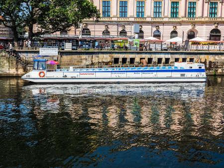 spree: BERLIN, GERMANY - CIRCA JUNE 2016: Boat on River Spree (HDR) Editorial