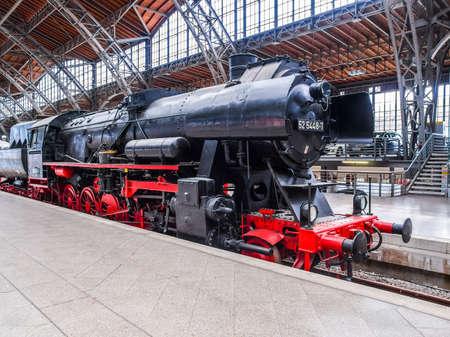LEIPZIG, GERMANY - JUNE 12, 2014: Class 52 steam locomotive 52 5448 7 of the Deutsche Reichsbahn at Leipzig Hbf station (HDR)