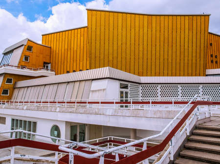 hans: BERLIN, GERMANY - MAY 09, 2014: The Berliner Philharmonie concert hall designed by German architect Hans Scharoun in 1961 is a masterpiece of modern architecture (HDR)