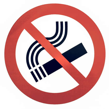 Vintage looking No smoking sign isolated over white background