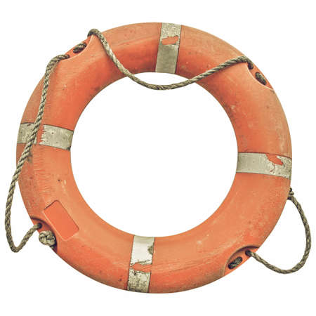 safety buoy: Vintage looking A life buoy for safety at sea - isolated over white background