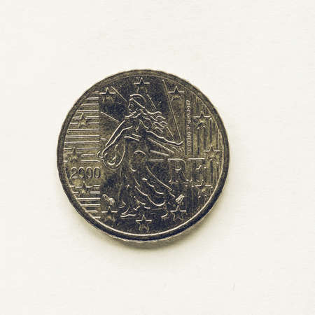 europe vintage: Vintage looking Currency of Europe 10 cent coin from France