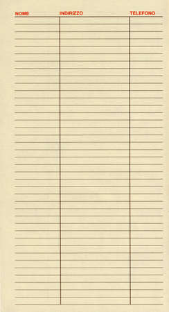 blank address book page with headers in italian nome meaning