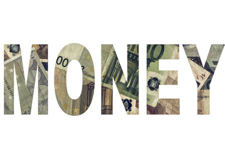 bank notes: Vintage looking Money text written with Euro bank notes