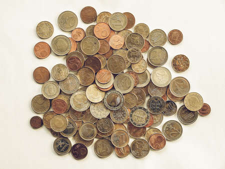 Vintage looking Euro coins currency of the European union