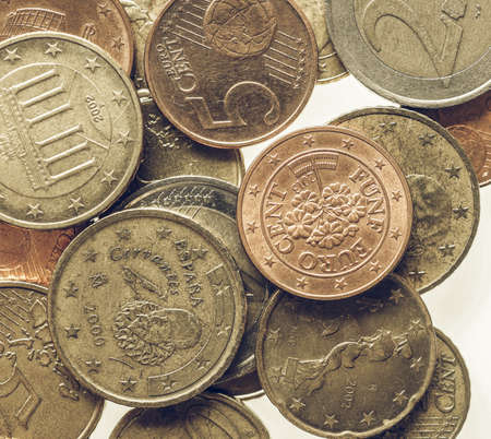 eec: Vintage looking Euro coins currency of the European Union