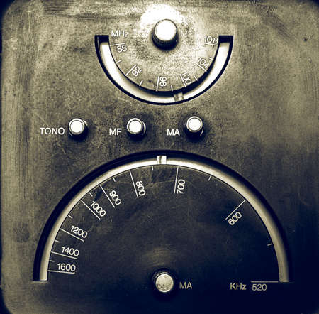 tuner: Vintage looking Old AM - FM radio tuner from the sixties Stock Photo