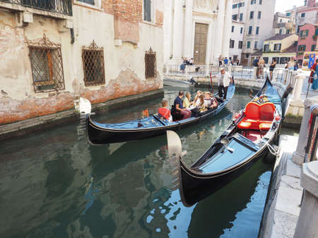 rowing boat: VENICE, ITALY - CIRCA SEPTEMBER 2016: Gondola traditional flat bottomed rowing boat in the Venetian lagoon