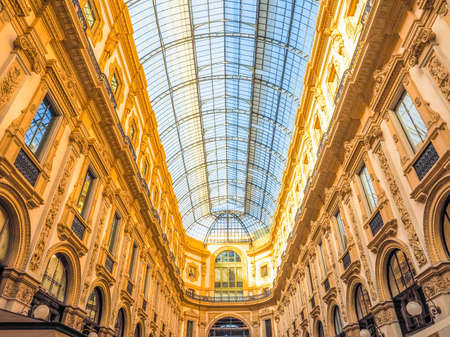 recently: MILAN, ITALY - MARCH 28, 2015: The Galleria Vittorio Emanuele II has been recently restored for the Expo Milano 2015 international exhibition (HDR)