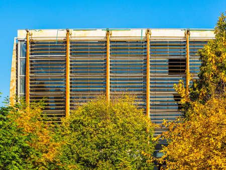 TURIN, ITALY - NOVEMBER 07, 2015: Palazzo del Lavoro meaning Palace of Work designed by Nervi in 1961 is a masterpiece of modern architecture now an abandoned ruin (HDR)
