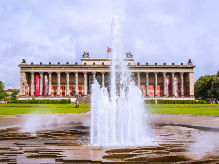 antiquities: BERLIN, GERMANY - MAY 09, 2014: Tourists visiting the Altes Museum of Antiquities in Museumsinsel Berlin Germany (HDR)