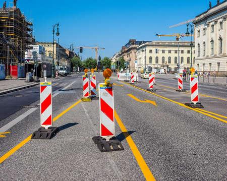 tree works: BERLIN, GERMANY - CIRCA JUNE 2016: Road works in Unter den Linden boulevard (HDR)