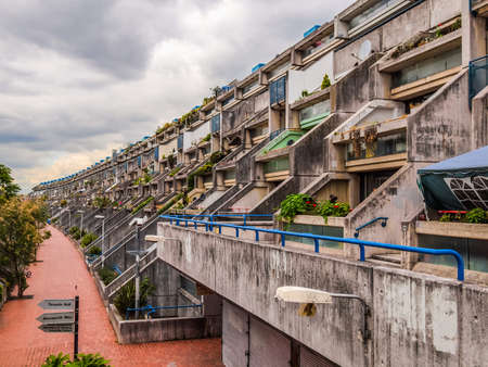 alexandra: LONDON, ENGLAND, UK - JUNE 20, 2011: The Alexandra Road estate designed in 1968 by Neave Brown applies the terraced house model to high-density public housing is a masterpiece of new brutalist architecture (HDR)