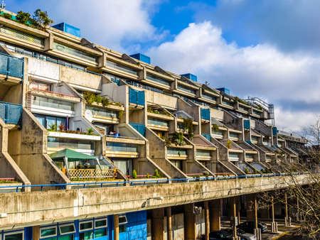 alexandra: LONDON, ENGLAND, UK - MARCH 04, 2009: The Alexandra Road estate designed in 1968 by Neave Brown applies the terraced house model to high-density public housing is a masterpiece of new brutalist architecture (HDR) Editorial